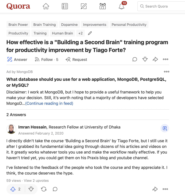 quora second brain niche